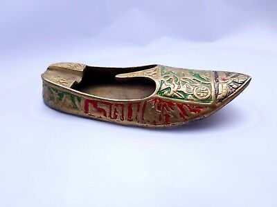 Vintage Brass Ashtray Engraved Egyptian Slipper Etched Pattern Shoe Rare Antiqe