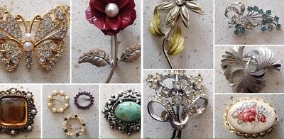 A Lovely Selection Of Vintage Costume Jewellery Brooches Job Lot Bundle