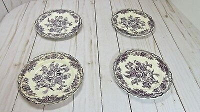 "Set of (4) CROWN DUCAL Blue BRISTOL Pattern #762055 5 7/8"" Bread & Butter Plates"