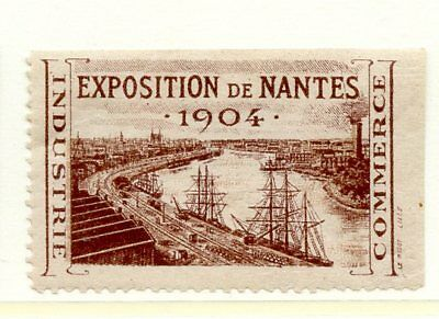France EXPO Poster Stamp 1907 Nantes Exposition Maritime  Sailing Ship