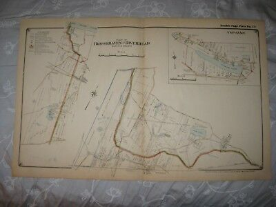 Vintage Antique 1917 Riverhead Brookhaven Yaphank Suffolk County New York Map Nr