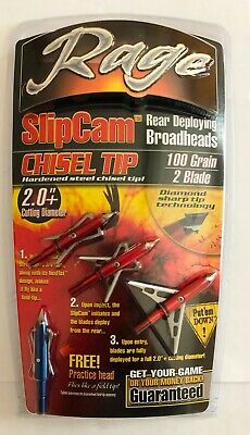 New Rage Chisel 2 Blade Broadhead 100-Grain (3 Pack) Red R31100 2 inch Cut