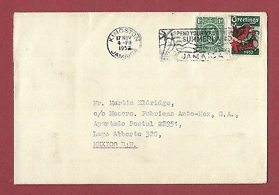 Jamaica To Mexico - 1952 G.b. Christmas Seal Tied To Stamp On Cover - Slogan.