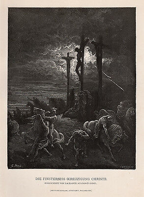 "Powerful 1800s Gustave DORE Antique Woodcut ""Dark Crucifixion"" SIGNED FRAMED COA"