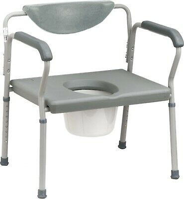 Commode Toilet Seat Bariatric Aid - Heavy-Duty Extra Wide Drop-Arm - Brand New