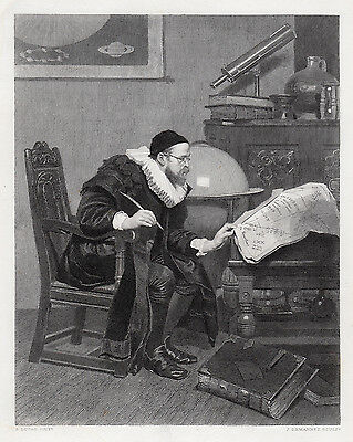 "Impressive John Seymour LUCAS 1800s Engraving ""The Astrologer"" SIGNED Framed COA"