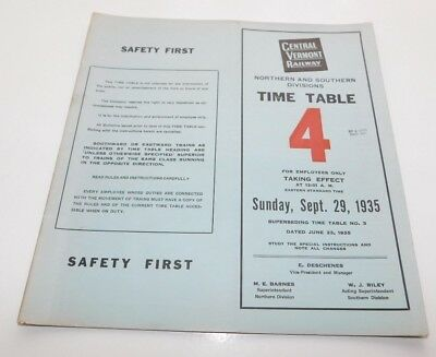 1935 Central Vermont Railway North & South Divisions Employee Timetable No. 4