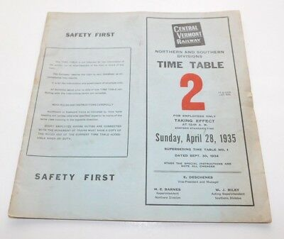 1935 Central Vermont Railway North & South Divisions Employee Timetable No. 2