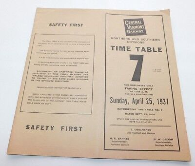 1937 Central Vermont Railway North & South Divisions Employee Timetable No. 7