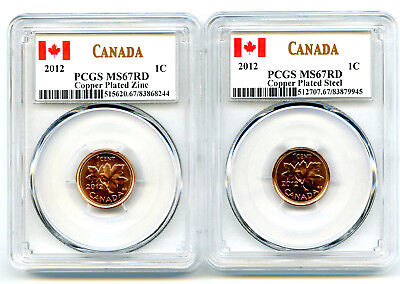2012 Canada Cent Pcgs Ms67 Rd Zinc & Steel Two Coin Set Last Year Of Issue Wow!