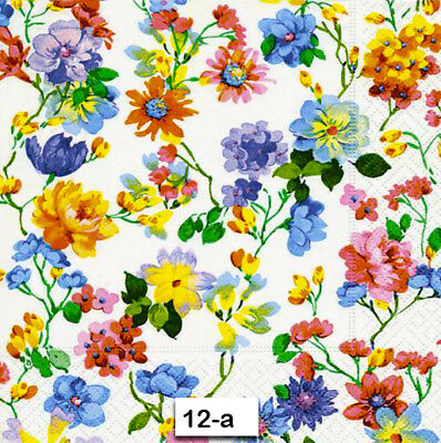 (12-a) TWO Individual Paper Luncheon Decoupage Napkins - FLOWERS, BLOOMS