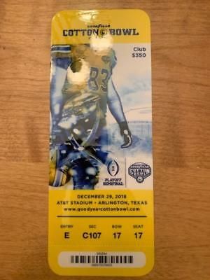 2018 Cotton Bowl Playoff Semifinal Souvenir Club Ticket Stub + Lanyard