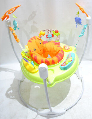 Fisher-Price CHM91 - Jumperoo Baby Hopser inkl. 12 Spielzeugen musik max 113kg