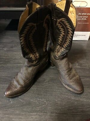 "Cowboy Boots Justin USA Made Boot ""Vintage"" Dark Brown Leather 10 D Men's"
