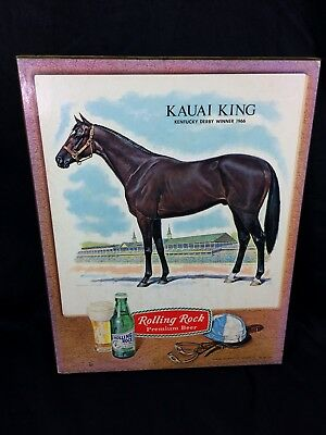 1966 Rolling Rock Beer Sign Kentucky Derby Winner Horse Racing Kauai King