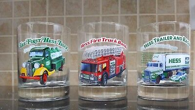 3 1996 Hess Glass Tumblers-Fire Truck,Trailer and Racer,First Hess Truck