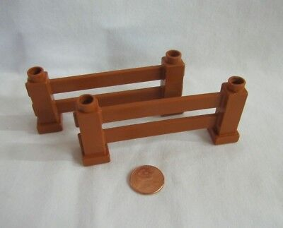 Lego Duplo Lot of 2 RED FENCE RAIL SECTIONS FENCING Zoo Construction House
