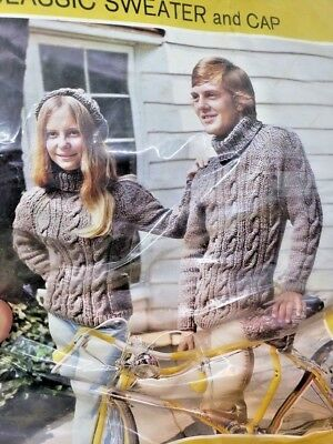 Vintage BULKY HEATHER KNIT Classic Sweater and Cap HUGE His Or Hers Craft Kit