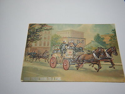 Made in Germany old post card embossed Hose Truck Going to Fire Firemen