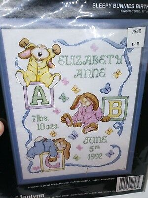 Janlynn SLEEPY BUNNIES 1992 BIRTH SAMPLER Counted Cross Stitch Craft Kit Easter