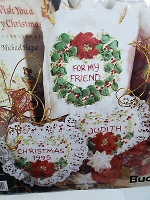 Bucilla FOR MY FRIEND Silk Ribbon Embroidery Christmas Gift Set Craft Kit NEW