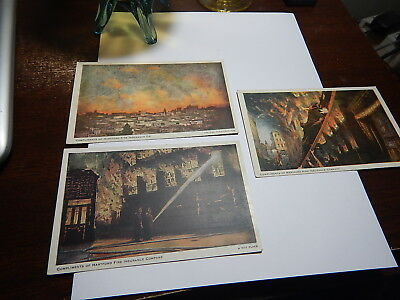 Three old post cards Fires and Firemen operations from Hartford Fire Insurance