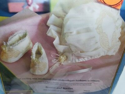 Paragon VINTAGE Bonnet and Booties Christening Infant Outfit Flowers Craft Kit