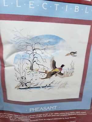 "Cathy Needlecraft PHEASANT Bird Collectibles Picture 22"" by 22"" Craft Kit NEW"