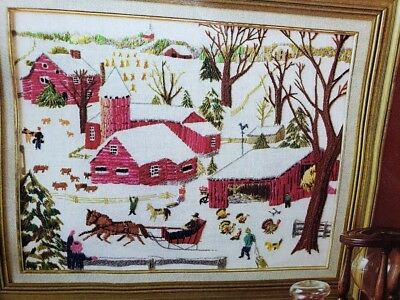 Vintage Avon WINTER IN THE COUNTRY Needlecraft Craft Kit Farm Barn Scene