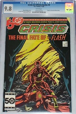 """Crisis on Infinite Earths #8 CGC graded 9.8 """"Death"""" of the Flash (Barry Allen)"""