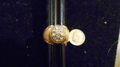 bling gold plated oval cubic cluster men`s fashion ring hip hop JEWELRY GP sz 9