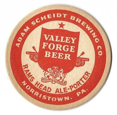 """VINTAGE 4"""" BEER COASTER VALLEY FORGE NORRISTOWN  PA. ..CIRCA 1930's"""