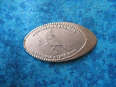 NORTHERN CARDINAL VIRGINIA STATE BIRD COPPER Elongated Penny Pressed Smashed 8