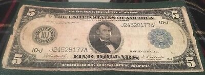 1914 $5 Federal Reserve Note, Fs-882, Blue Seal, St Louis, Burke/houston,