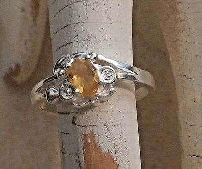 Sterling Silver .925 Yellow Citrine Oval Faceted Gem Stone Ring Sz 6.75 Beaded