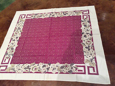 "Vintage Tablecloth Purple White  Gray Flowers 50"" x 45"" Nice"