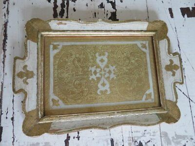 GORGEOUS Old Vintage Italian FLORENTINE Vanity TRAY with Glass Top