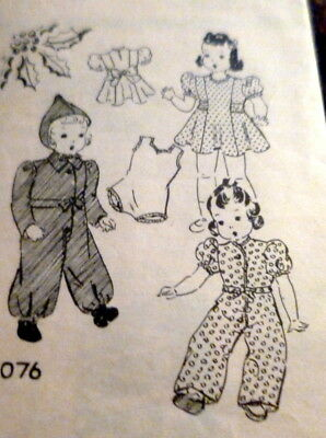 """GREAT VTG 1940s 18"""" DOLL CLOTHING MAIL ORDER SEWING PATTERN"""