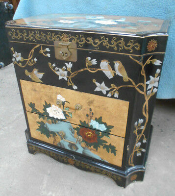 Vintage Decorative Floral Birds Lacquer MIRROR CABINET Handpainted Chinese #194