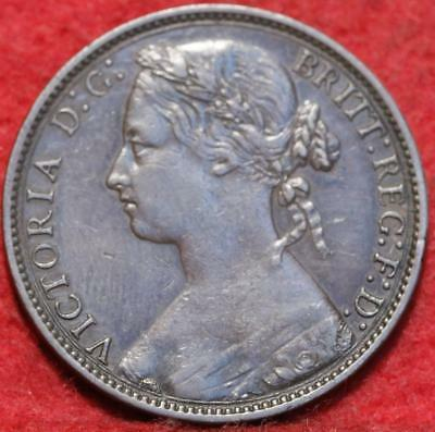 1876-H Large Date Great Britain 1 Penny Foreign Coin