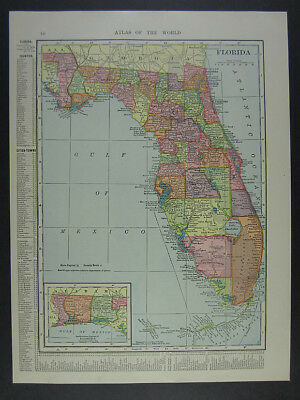 BAEDEKER 1909 old map Jacksonville St Augustine Tampa NORTHERN FLORIDA
