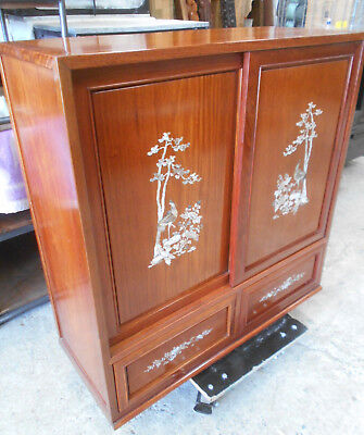 Vintage Rosewood Cabinet Chest Double Sided Mother Of Pearl Chinese 1950s  #197