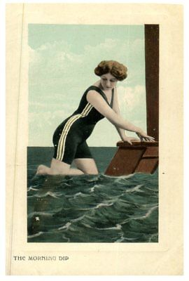 (P4) very old postcard - Young women - The Morning Dip
