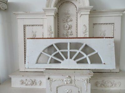 AWESOME Old Architectural ARCHED WINDOW CHIPPY WHITE Textured Glass 3'