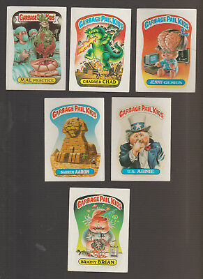Lot of 6 Garbage Pail Kids trading cards Vintage 1988 Mal Practice Brainy Brian
