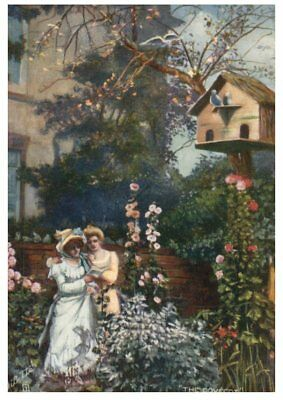 (P4) very old postcard - Young Womens in garden