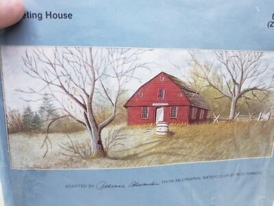 Vintage Cathy Needlecraft MEETING HOUSE Embroidery Craft kit Farm Scene Barrel