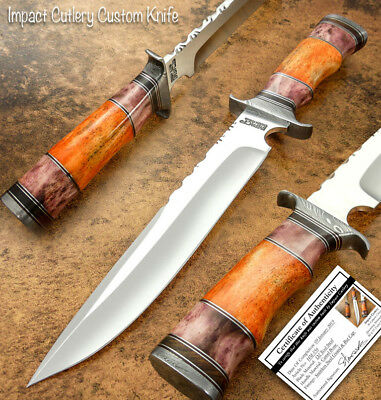 Impact Cutlery  Rare Custom D2 Bowie Knife Camel Bone Handle