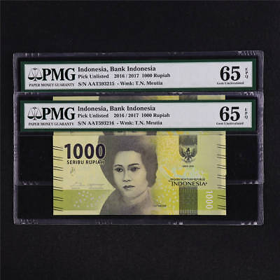 2016/2017 Bank Indonesia 1000 Rupiah Pick Unlisted PMG 65 EPQ UNC Sequential 2P