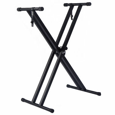 Standard Adjustable Music Keyboard Electric Piano X-Stand Dual Tube Metal Rack
